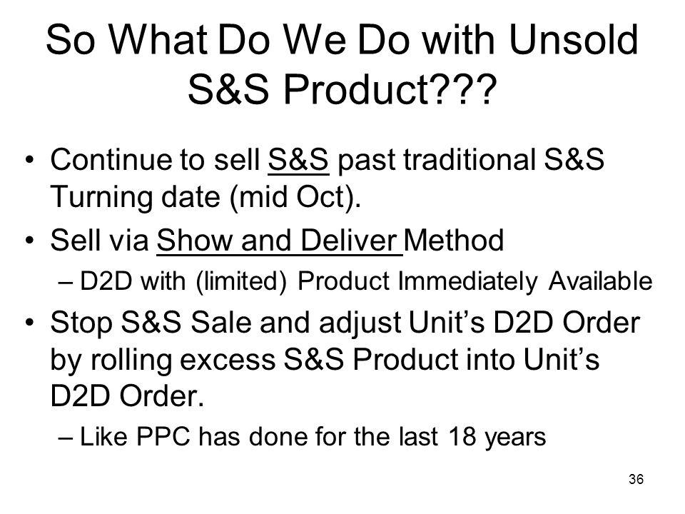 So What Do We Do with Unsold S&S Product