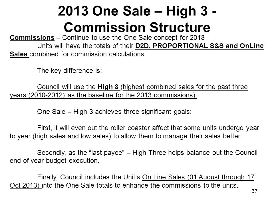 2013 One Sale – High 3 - Commission Structure