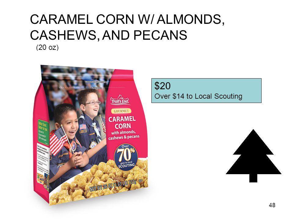 CARAMEL CORN W/ ALMONDS, CASHEWS, AND PECANS