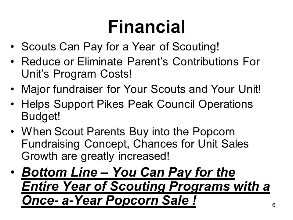 Financial Scouts Can Pay for a Year of Scouting! Reduce or Eliminate Parent's Contributions For Unit's Program Costs!