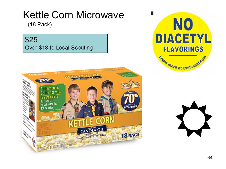 Kettle Corn Microwave (18 Pack) $25 Over $18 to Local Scouting
