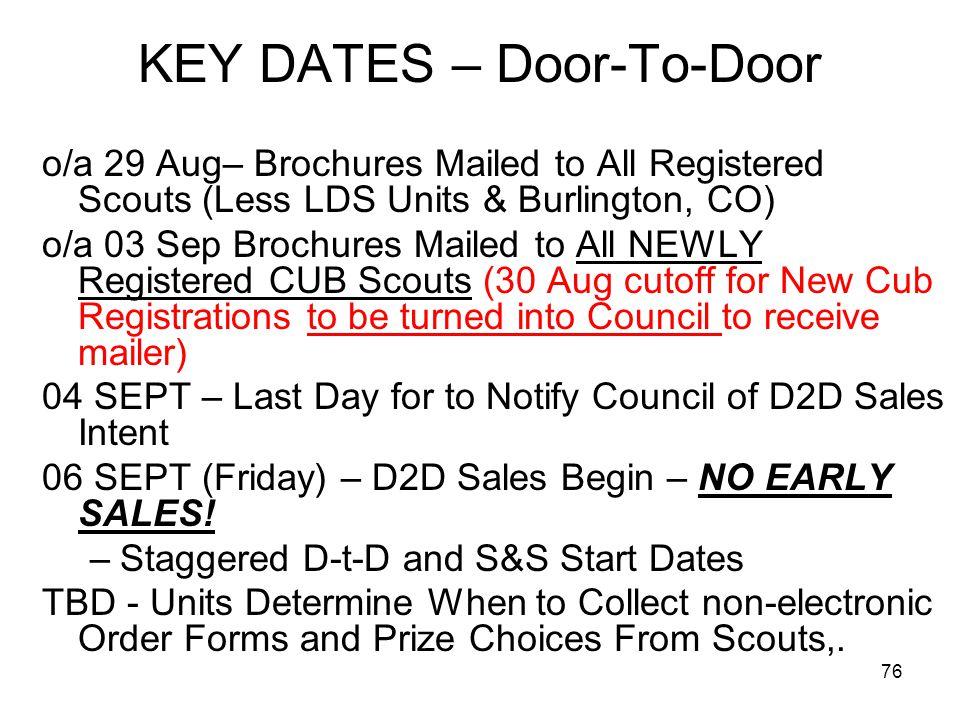 KEY DATES – Door-To-Door