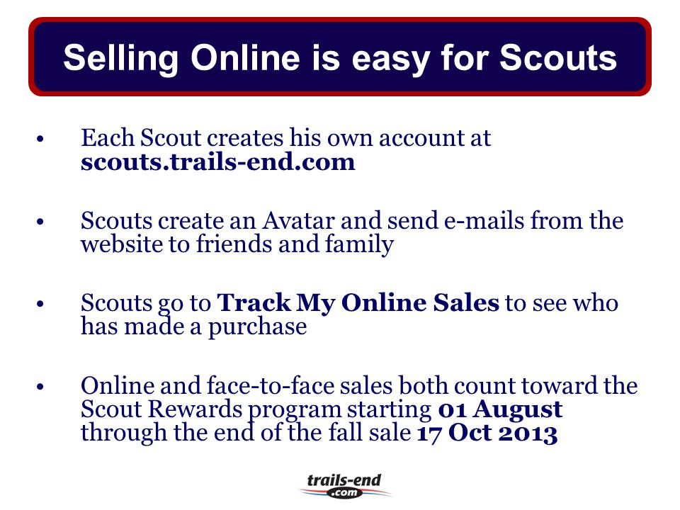 Selling Online is easy for Scouts