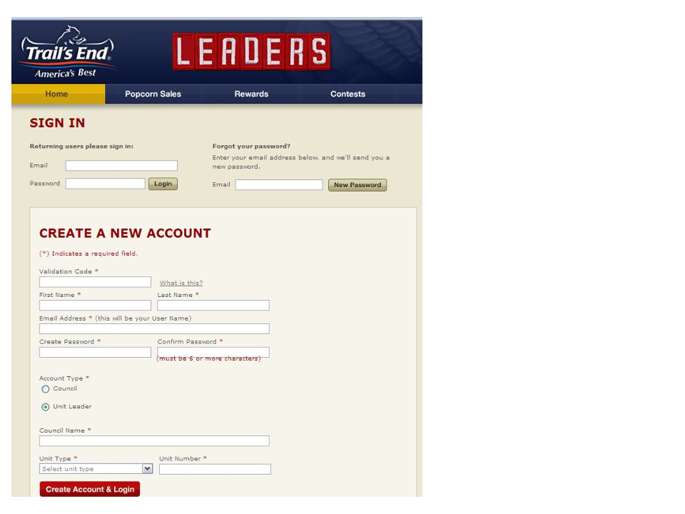 Each leader creates his/her own account to track Scouts' online sales.