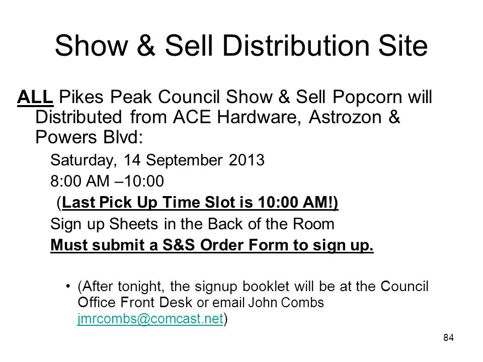 Show & Sell Distribution Site