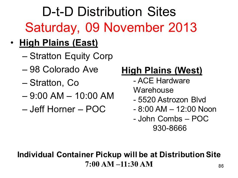D-t-D Distribution Sites Saturday, 09 November 2013