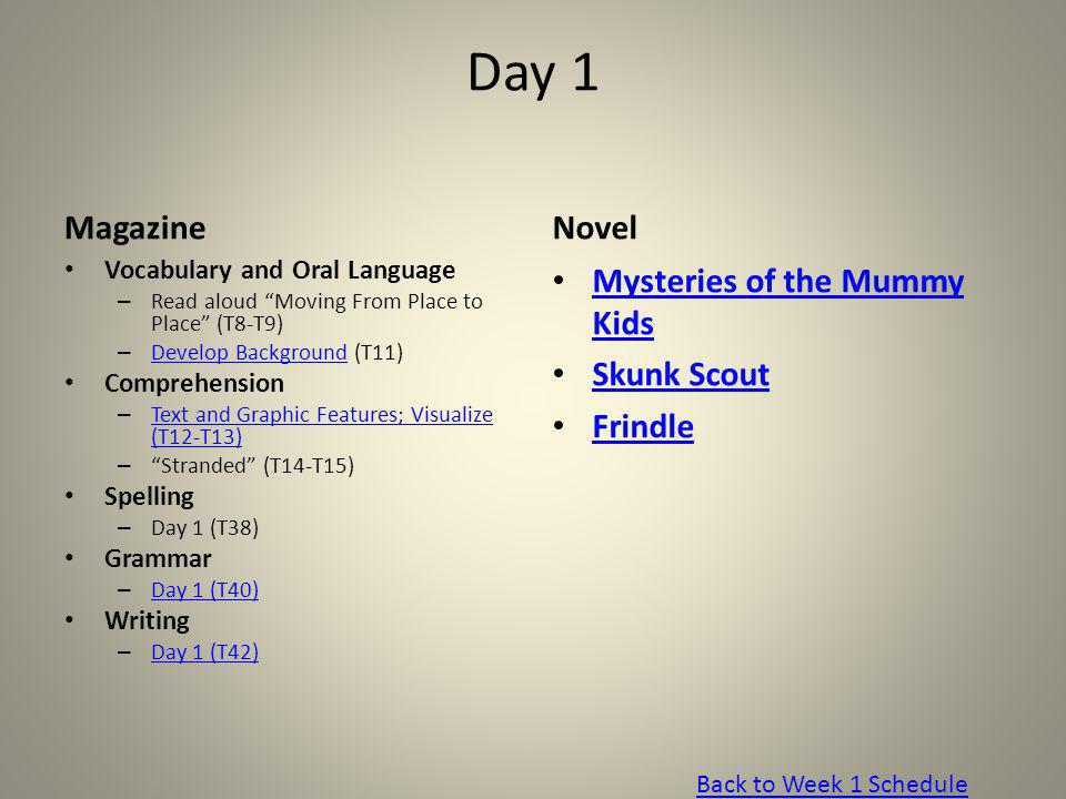 Day 1 Magazine Novel Mysteries of the Mummy Kids Skunk Scout Frindle