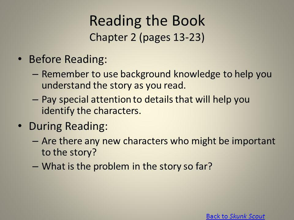 Reading the Book Chapter 2 (pages 13-23)