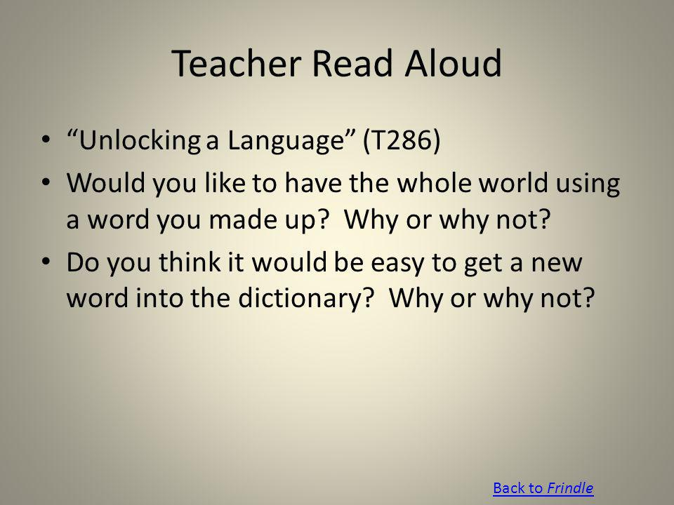 Teacher Read Aloud Unlocking a Language (T286)