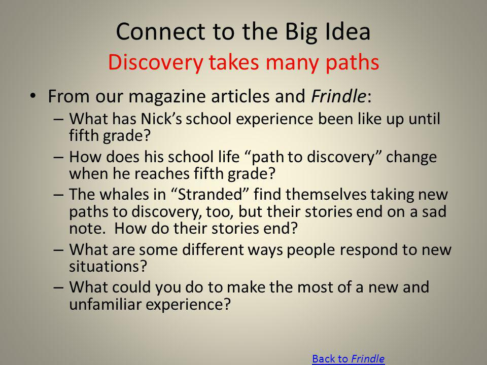 Connect to the Big Idea Discovery takes many paths