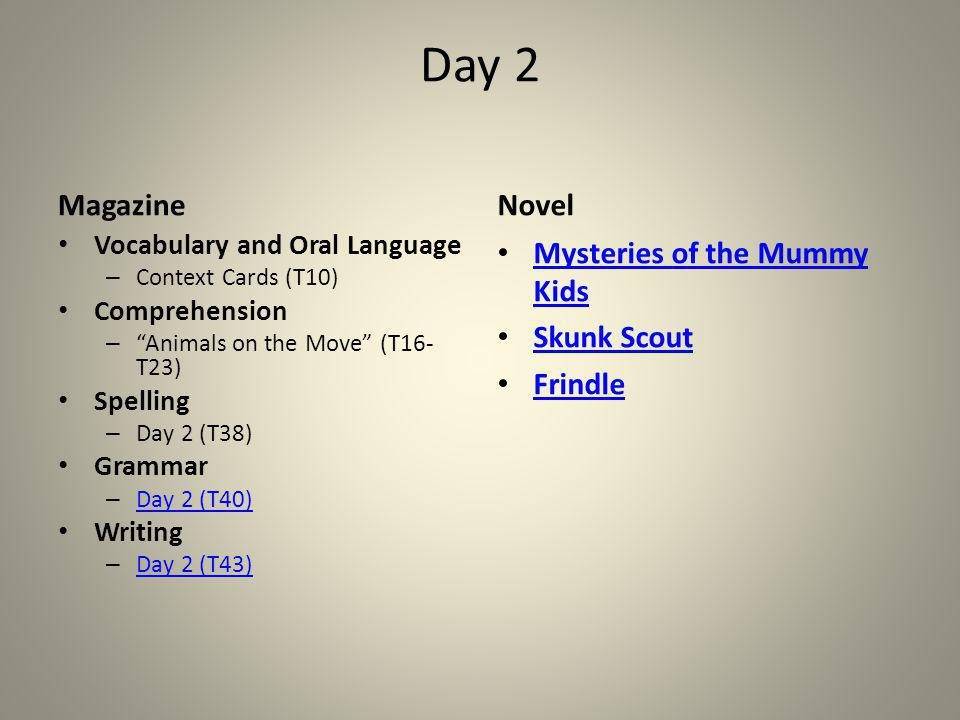 Day 2 Magazine Novel Mysteries of the Mummy Kids Skunk Scout Frindle