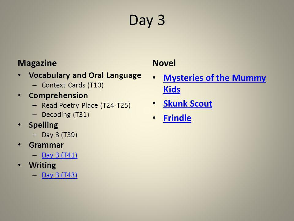 Day 3 Magazine Novel Mysteries of the Mummy Kids Skunk Scout Frindle