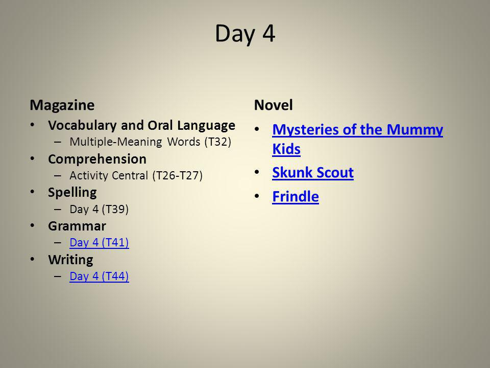 Day 4 Magazine Novel Mysteries of the Mummy Kids Skunk Scout Frindle