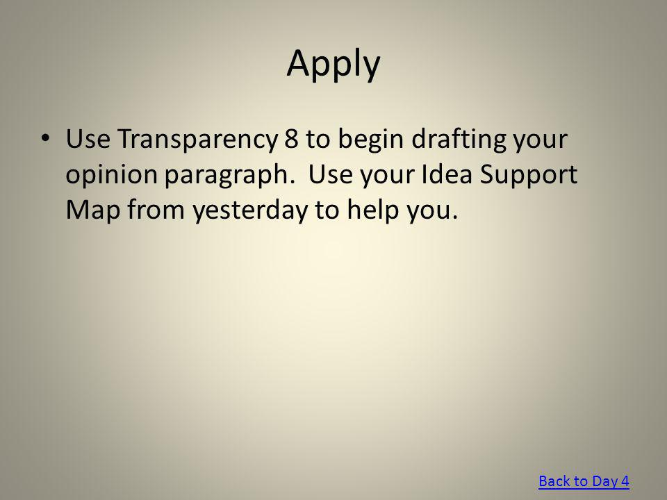 Apply Use Transparency 8 to begin drafting your opinion paragraph. Use your Idea Support Map from yesterday to help you.