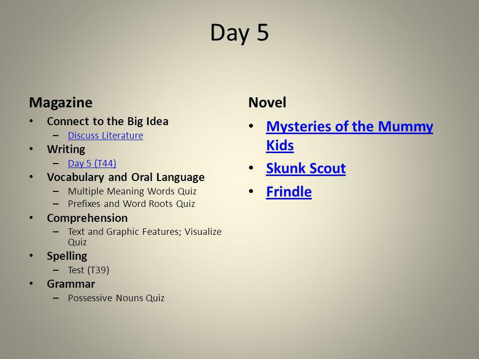 Day 5 Magazine Novel Mysteries of the Mummy Kids Skunk Scout Frindle