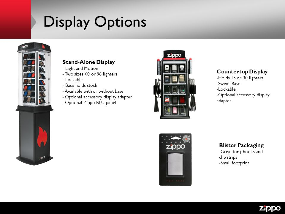 Display Options Stand-Alone Display Countertop Display