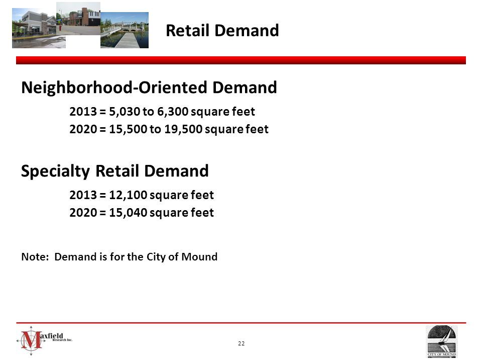 Neighborhood-Oriented Demand 2013 = 5,030 to 6,300 square feet
