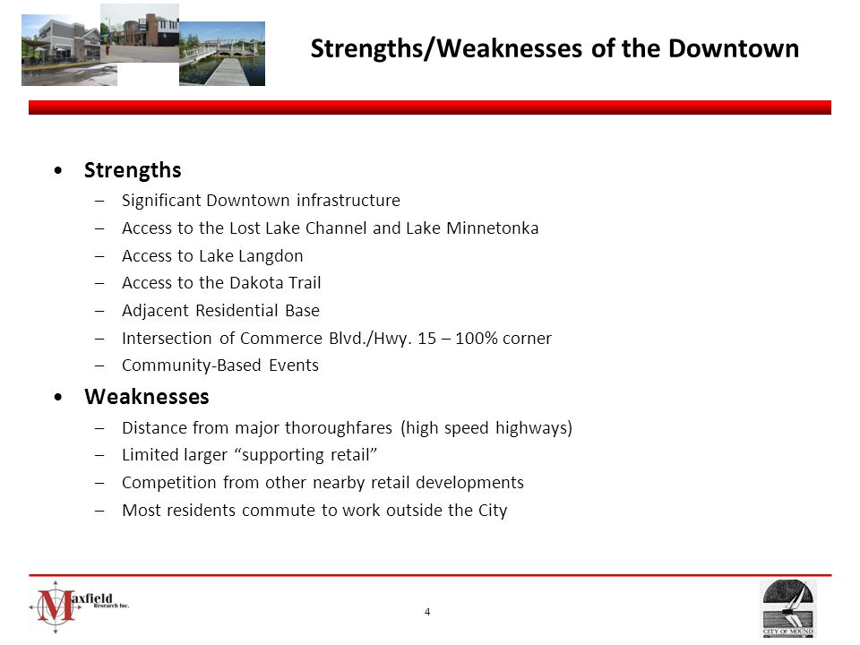 Strengths/Weaknesses of the Downtown