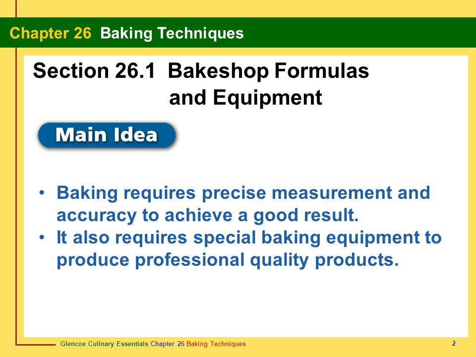 Section 26.1 Bakeshop Formulas and Equipment