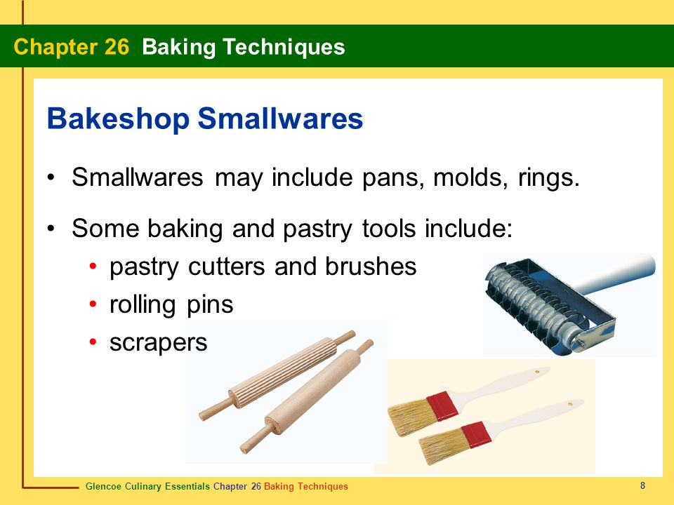 Bakeshop Smallwares Smallwares may include pans, molds, rings.