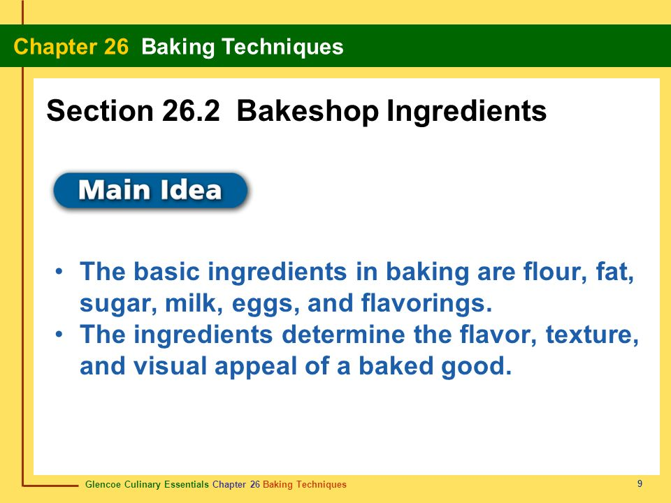 Section 26.2 Bakeshop Ingredients