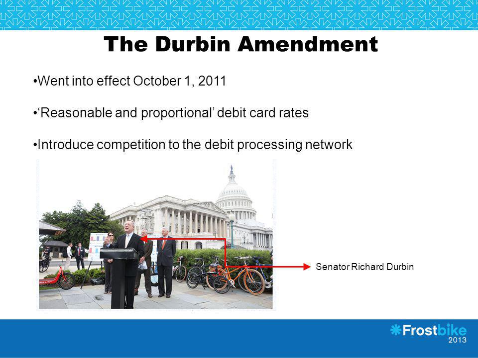 The Durbin Amendment Went into effect October 1, 2011
