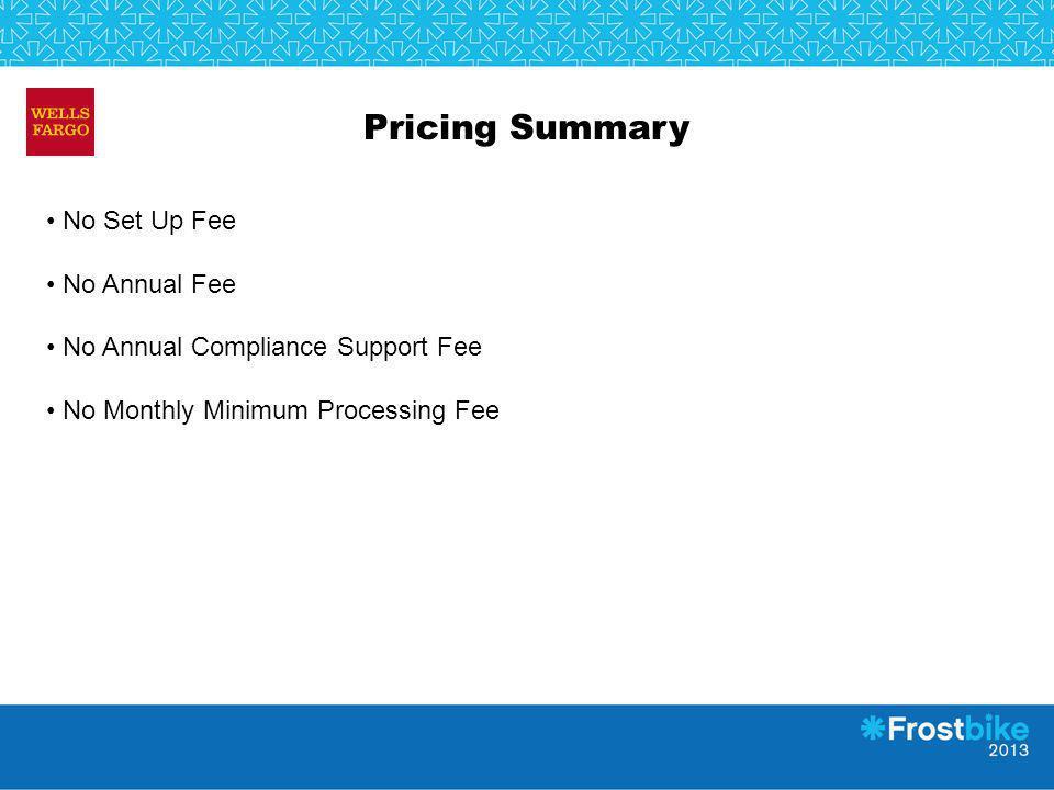 Pricing Summary No Set Up Fee No Annual Fee