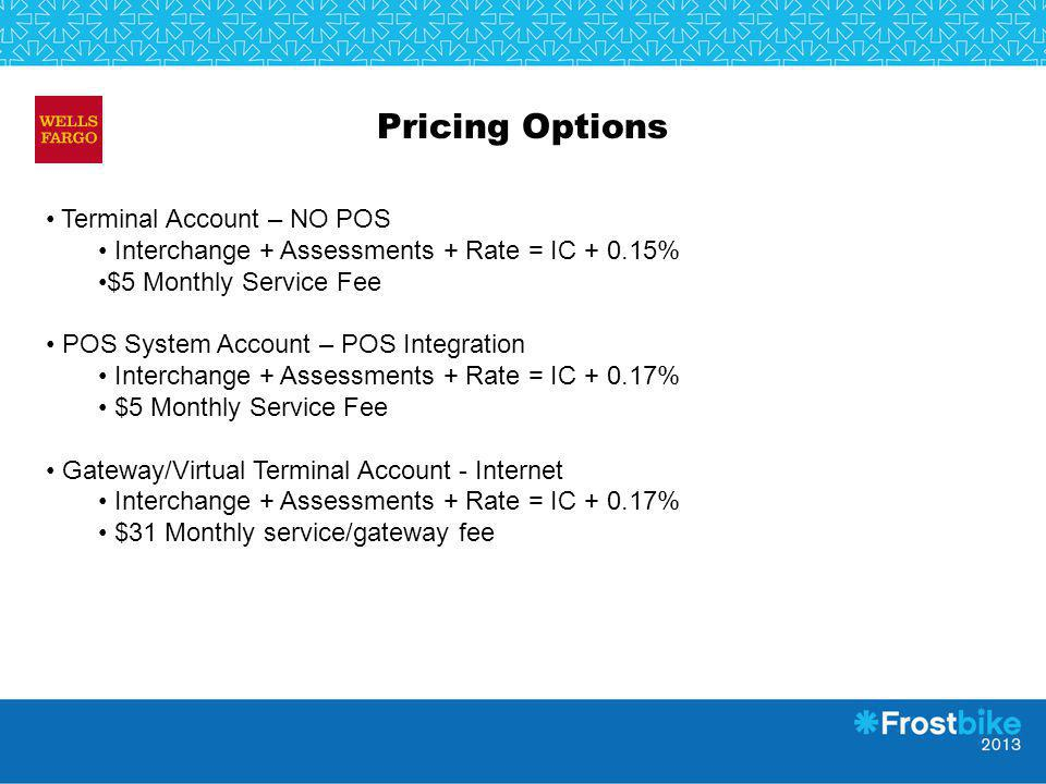 Pricing Options Terminal Account – NO POS