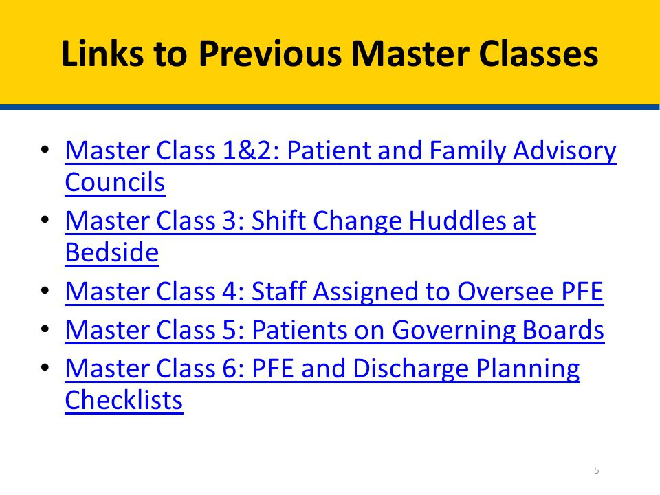 Links to Previous Master Classes
