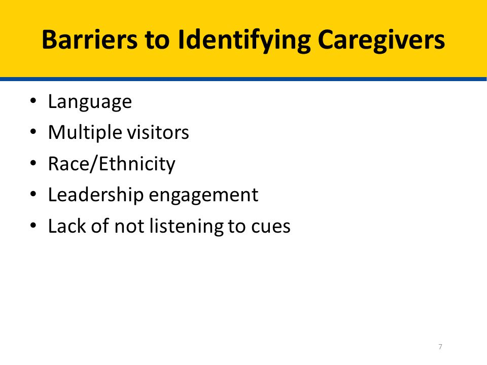 Barriers to Identifying Caregivers