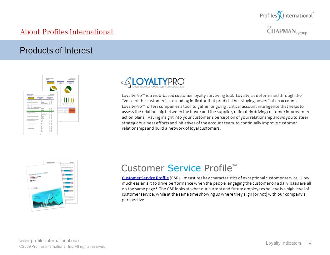 Products of Interest About Profiles International