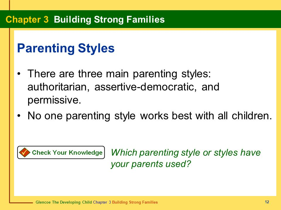 Parenting Styles There are three main parenting styles: authoritarian, assertive-democratic, and permissive.