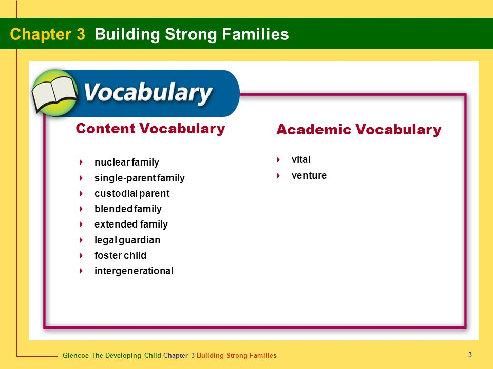 Content Vocabulary Academic Vocabulary vital nuclear family venture