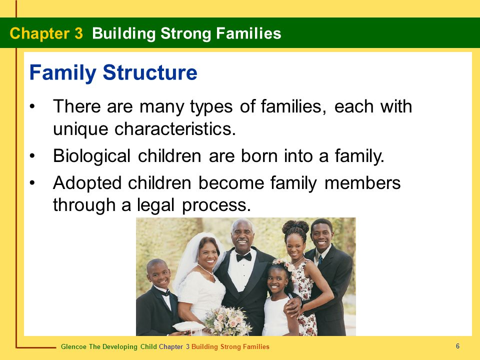 Family Structure There are many types of families, each with unique characteristics. Biological children are born into a family.