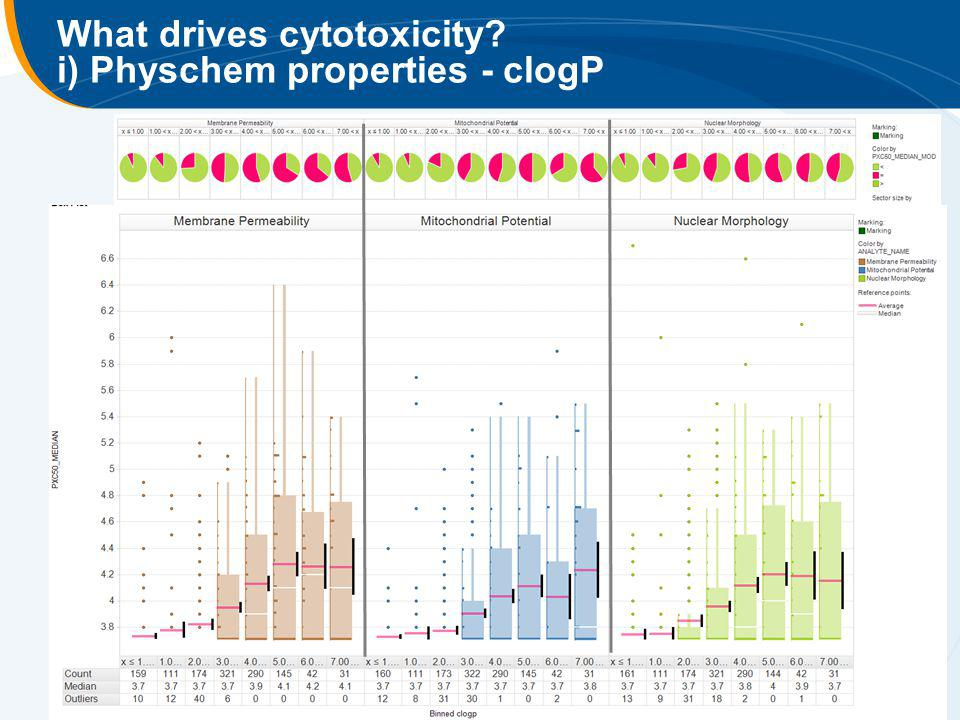 What drives cytotoxicity i) Physchem properties - clogP