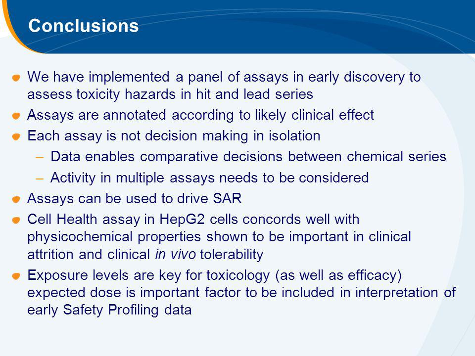 Conclusions We have implemented a panel of assays in early discovery to assess toxicity hazards in hit and lead series.