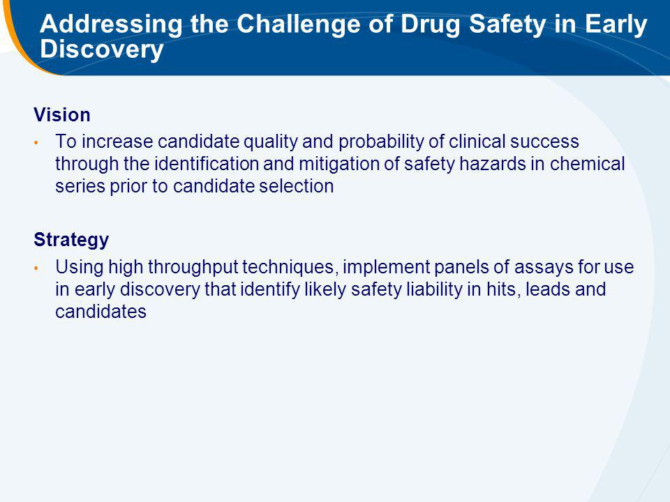 Addressing the Challenge of Drug Safety in Early Discovery
