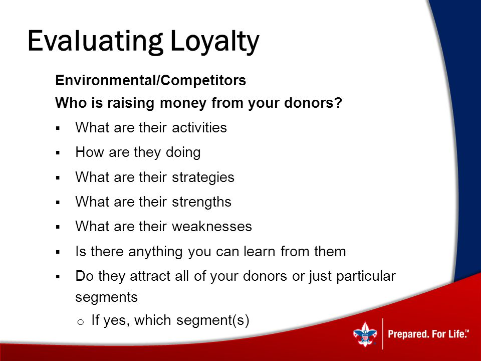 Evaluating Loyalty Environmental/Competitors