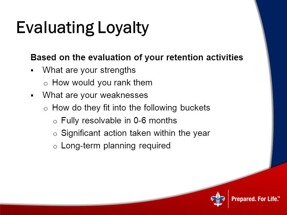 Evaluating Loyalty Based on the evaluation of your retention activities. What are your strengths. How would you rank them.