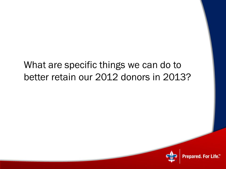 What are specific things we can do to better retain our 2012 donors in 2013