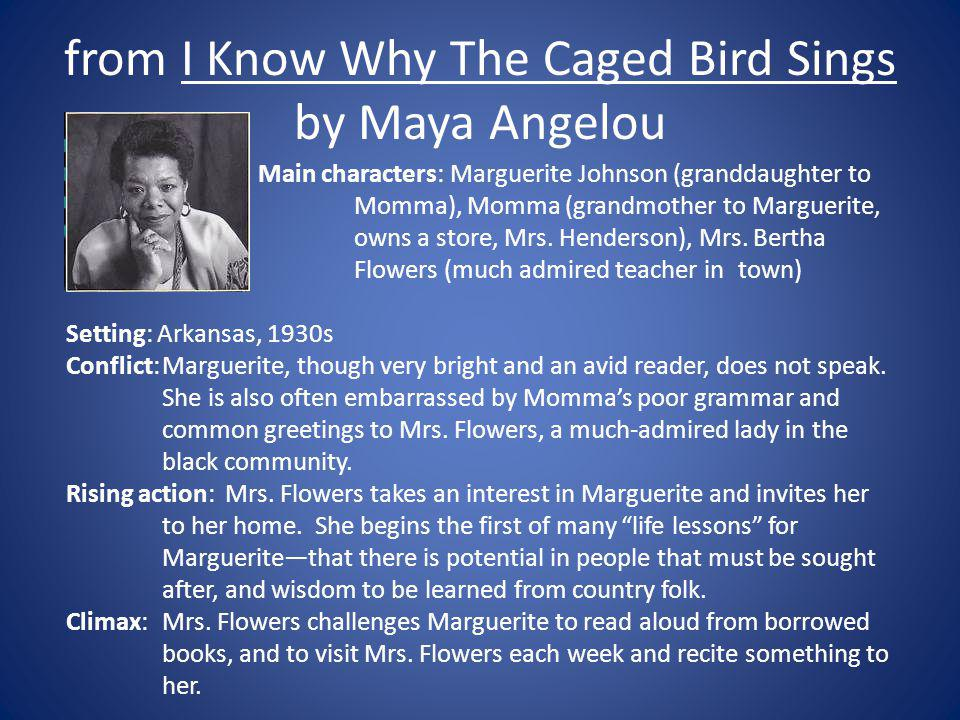 """a character analysis of annie henderson in i know why the caged bird sings Maya angelou, whose landmark book """"i know why the caged bird sings,"""" published when ms angelou was in her early 40s  annie henderson."""