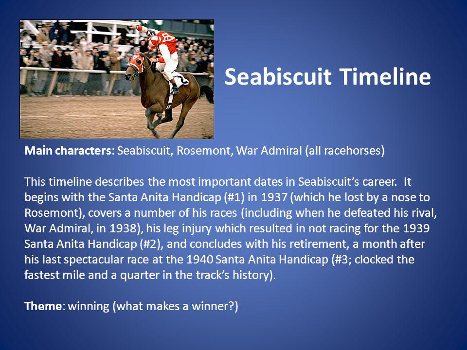Seabiscuit Timeline Main characters: Seabiscuit, Rosemont, War Admiral (all racehorses)