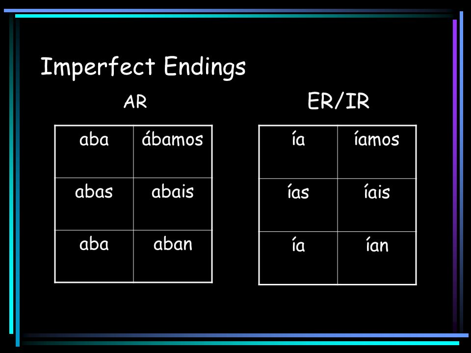 Imperfect Endings ER/IR AR aba ábamos abas abais aban ía íamos ías