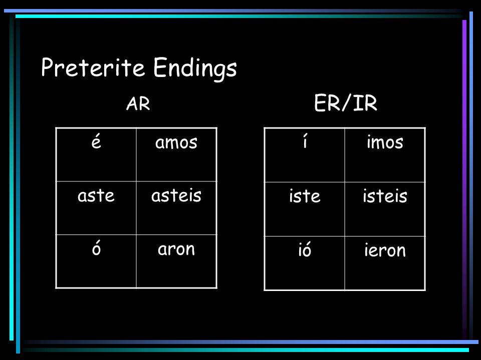Preterite Endings ER/IR AR é amos aste asteis ó aron í imos iste