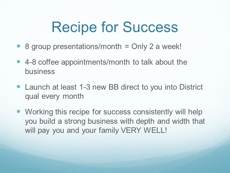 Recipe for Success 8 group presentations/month = Only 2 a week!
