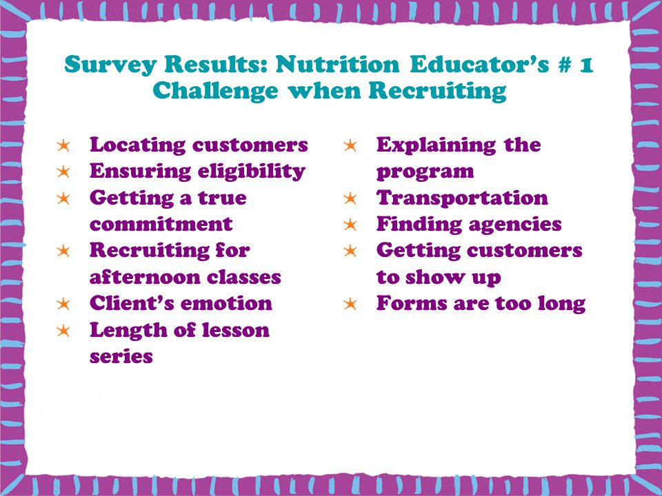 Survey Results: Nutrition Educator's # 1 Challenge when Recruiting