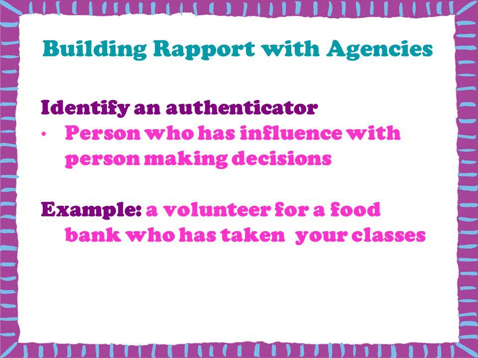 Building Rapport with Agencies