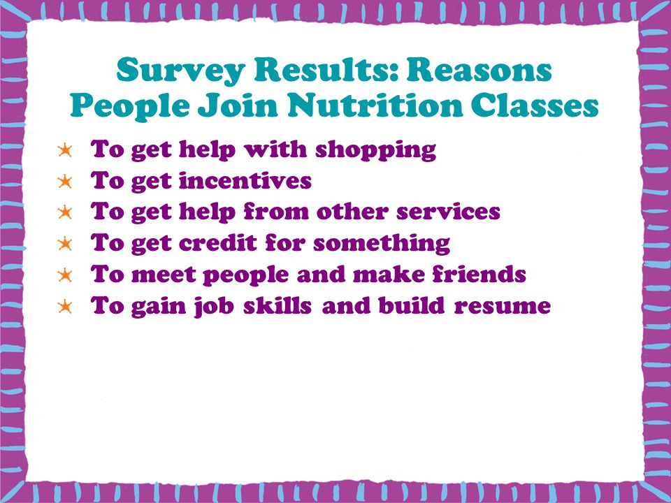 Survey Results: Reasons People Join Nutrition Classes