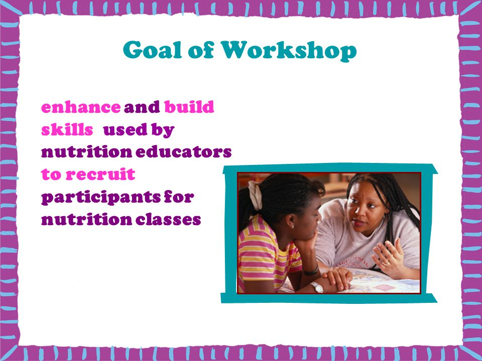 Goal of Workshop enhance and build skills used by nutrition educators to recruit participants for nutrition classes.