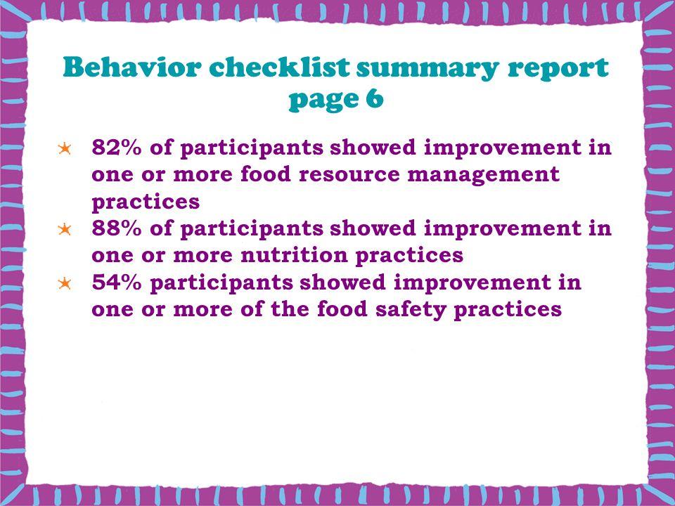 Behavior checklist summary report page 6